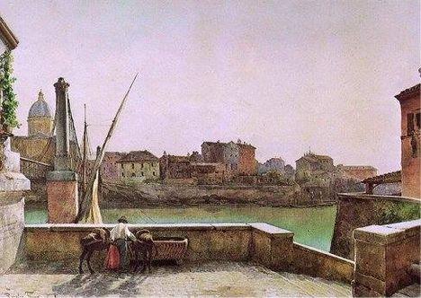 Ettore Roesler Franz_Ponte di San Giovanni dei Fiorentini da via della Lungara_1890