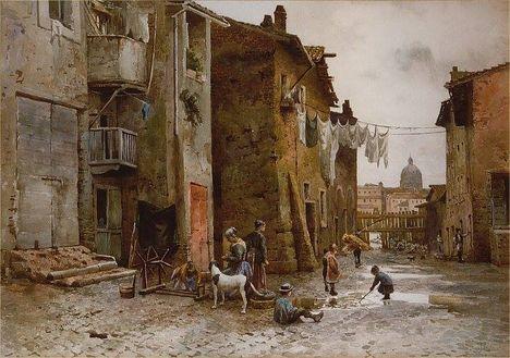 Ettore Roesler Franz_Vecchie case alla Lungaretta_1885