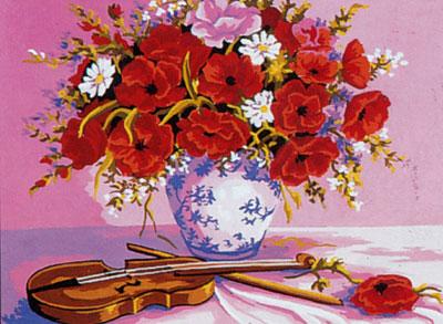 C10252 Violin and Vase of Flowers 30x40 cm