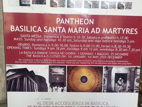 Pantheon nyitva tartása
