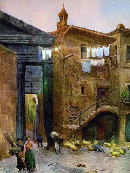 Ettore Roesler Franz _ Portico di Ottavia _ 1896