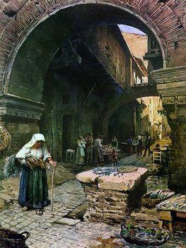 Ettore Roesler Franz_Via del Foro Piascario_1896