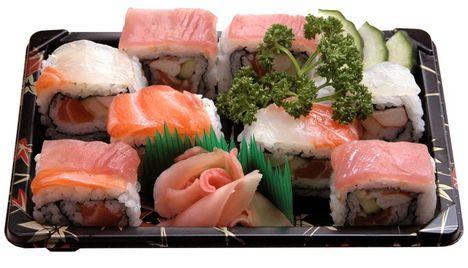 szivárvány sushi tál