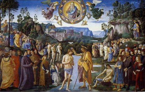 Pietro Perugino Battesimo di Cristo parete destra