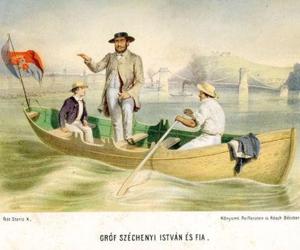 Gróf Széchenyi István Béla fiával megtekinti az épülő Lánchidat (Sterio Károly rajza, színezett kőnyomat, forrás FSZEK Budapest Gyűjtemény)