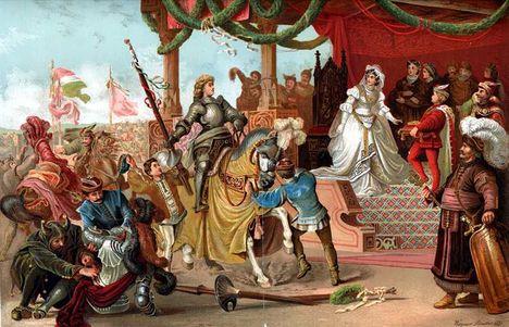 Mátyás király legyőzi Holubárt. Wagner Sándor festménye a fővárosi vigadóban. – Tull Ödön akvarell-képe után