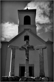 Kálvária kápolna fekete-fehérben