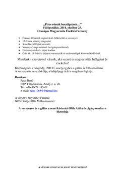Versenyprogram Fülöpszállás. 2014.okt.25-re