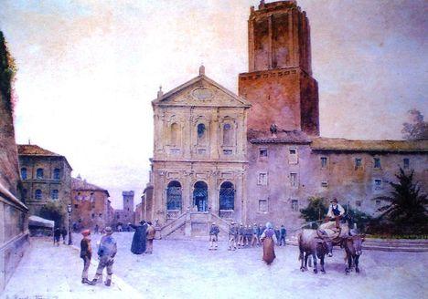 Ettore Roesler Franz_Chiesa S_Caterina e Torre delle Milizie
