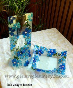 kék virágos készlet