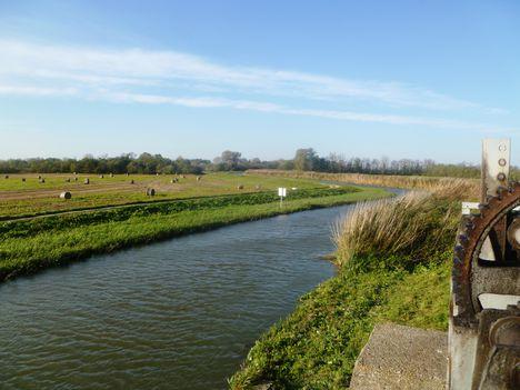 Lajta folyó főmeder a márialigeti fenékürítő műtárgy felvízén, 2014. november 04.-én