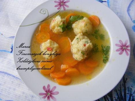 Zöldségleves szines burgonyagombóccal