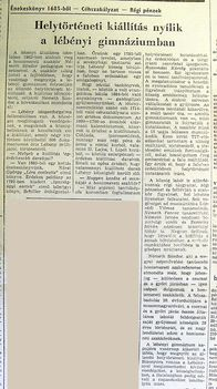 Helytörténeti kiállítás. Kisalföld, 1966.05.28..6.o
