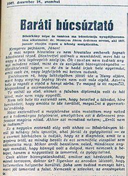 Dr. Mennyes J. nyugdíjas búcsúztatója 1. Kisalföld, 1967.12.16.5.o