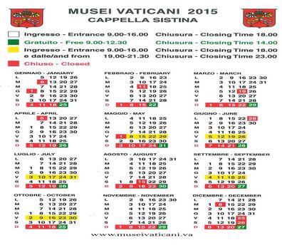 A Vatikáni Múzeumok és a Sixtus kápolna nyitvatartása 2015