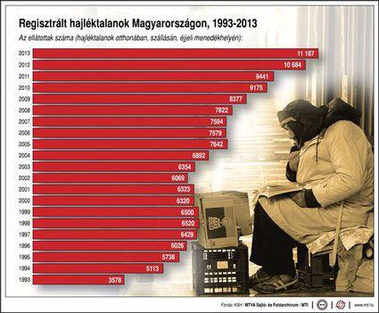 Regisztrált hajléktalanok száma 1993-2013