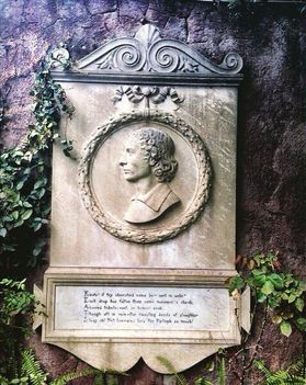Plaque adjacent to the tomb of John Keats