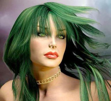zöldhajú lány