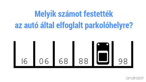 Melyik számot festették az autó által elfoglalt parkolóhelyre (androbit.net)