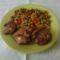 Csirkmáj boros zöldborsóval