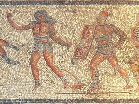 Retiarius mozaik a Tripoli múzeumban