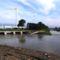 Lajta folyó a Mosonmagyaróvári zsilip alvizén, egy kisebb árhullámnál, 2015. május 25.-én