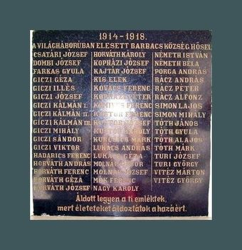 Az első világháború barbacsi áldozatai