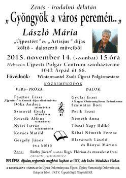 2015.nov.14. Zenés irodalmi szerzői rendezvény Újpesten
