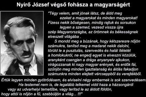 Nyirő József végső fohásza a magyarságért