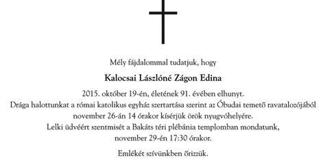 Elhunyt 91 éves korában Zágon Edina