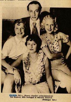 Ábrahám Pál a Hawaii rózsája premierjén Bársony Rózsival - 1932.