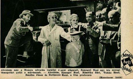 Ábrahám Pál (balra kalapban) a Lila akácok c. film forgatásakor