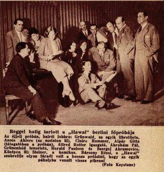 Ábrahám Pál Hawaii rózsája operett berlini premierje szereplői