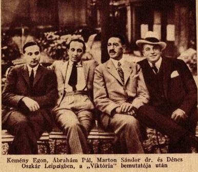 Kemény Egon, Ábrahám Pál, Marton Sándor és Dénes Oszkár (1930) Lipcsében