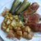 Sült csirke rozmaringos fokhagymás sült krumplival és kovi.ubival