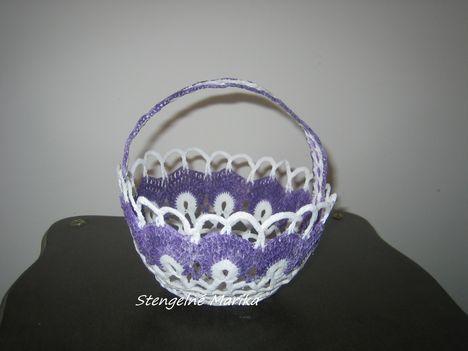 horgolt lilás kosárka