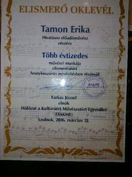 Tamon Erika Elismerő Oklevél