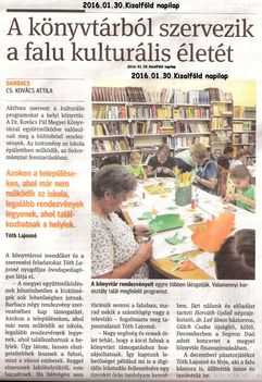 Újságcikk a könyvtárról