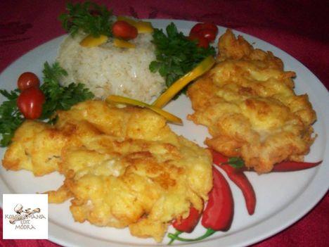 Csirkemell sajtos,burgonyás bundában