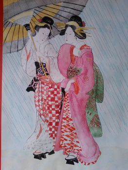 Kikugawa_Eizan-No_Series-Two_young_bijin_sheltering_from_a_spring_shower-