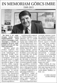 In Memoriam Görcs Imre
