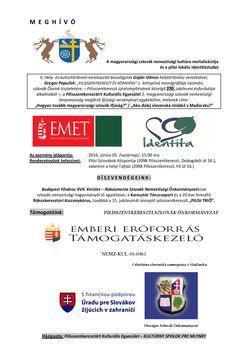 POZVÁNKA i PLAGÁT 2016 - Revitalizácia slovenskej národnostnej kultúry v Maďarsku a pilíšske lokálne vedomie identity - 1