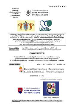 POZVÁNKA i PLAGÁT 2016 - Revitalizácia slovenskej národnostnej kultúry v Maďarsku a pilíšske lokálne vedomie identity - 2