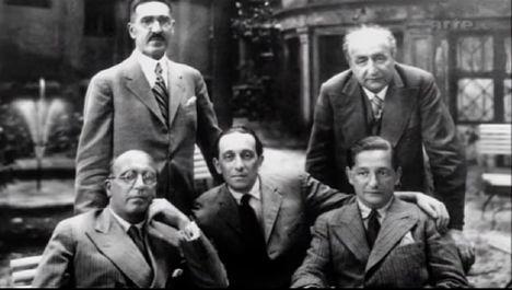 Marton Sándor bal fent, Robert Stolz bal lent, Ábrahám Pál középen