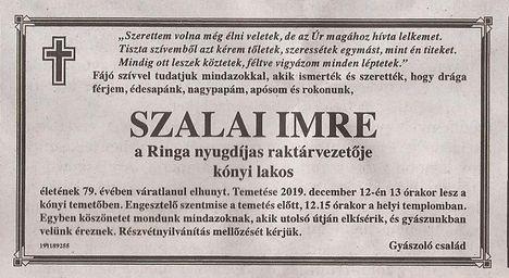 Szalai Imre gyászjelentése