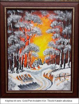 Téli naplemente .Dáma Lovag Erdős Anna verse.Tibold Katalin festménye..