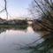 Mosoni-Duna folyó a mosoni, Rév utca melletti szakaszon, Mosonmagyaróvár 2020.01.11.-én