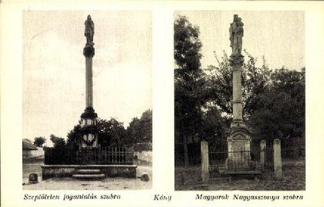 Kónyi szobrok 1920 körüli képeslapon