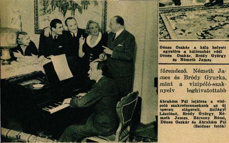 3 : 1 a szerelem javára c. Ábrahám Pál-Szilágyi László-Kellér Dezső- Harmath Imre operett dalait zongorázza a zeneszerző Ábrahám Pál Színházi Élet 1936
