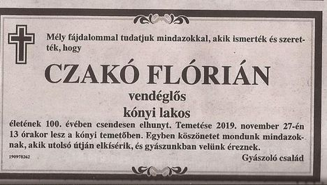 Czakó Flórián gyászjelentése